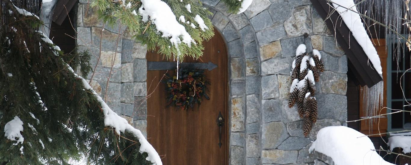North Lake Tahoe home with stone entry