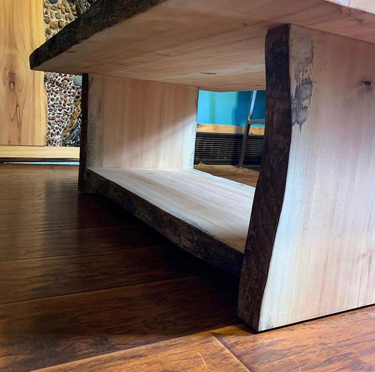Deep water wood slab coffee table