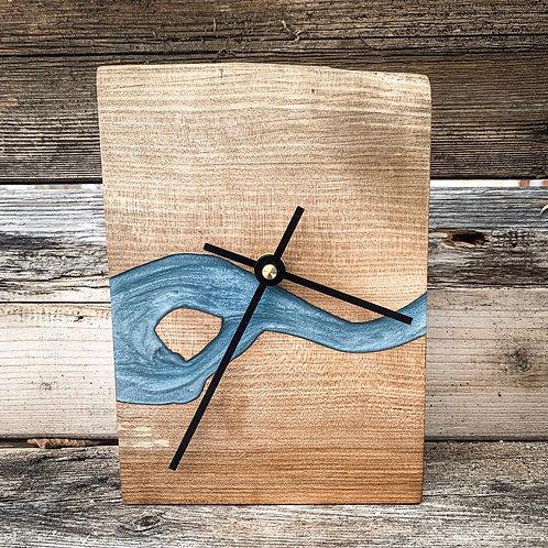 Deep Water Wood River Desktop Clock