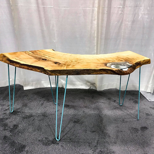 Maple Desk with Glass Inlay