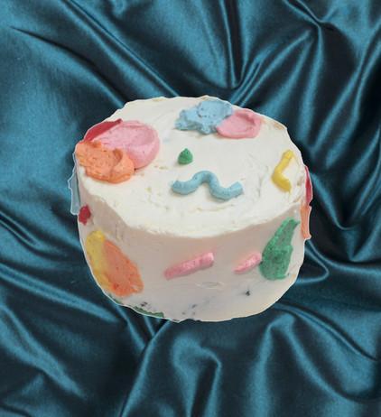 "6"" vanilla cake strawberry rhubarb rose jam vanilla meringue buttercream"