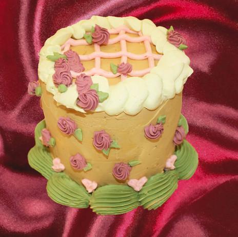 "4"" chocolate cake passionfruit curd hazelnut crunch hazelnut buttercream"