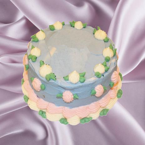 """6"""" lemon olive oil cake cream cheese mousse lemon curd vanilla meringue buttercream"""