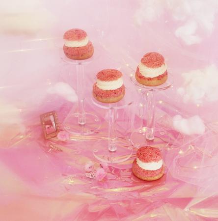 strawberry rhubarb rose jam zéphyr mousse cream puffs