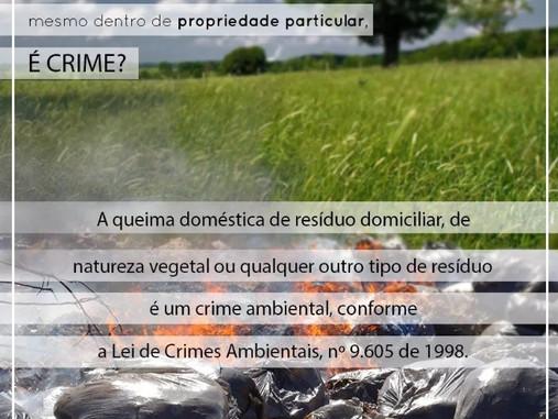 Você sabia que queima de lixo, ainda que em propriedade particular, é crime?