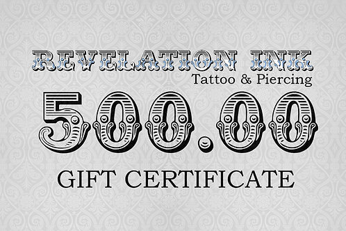 500.00 Gift Certificate
