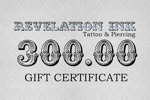 300.00 Gift Certificate