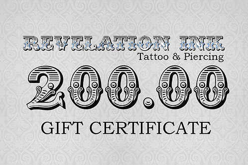 200.00 Gift Certificate