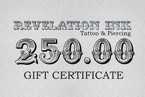 250.00 Gift Certificate