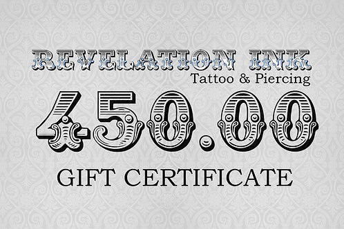 450.00 Gift Certificate