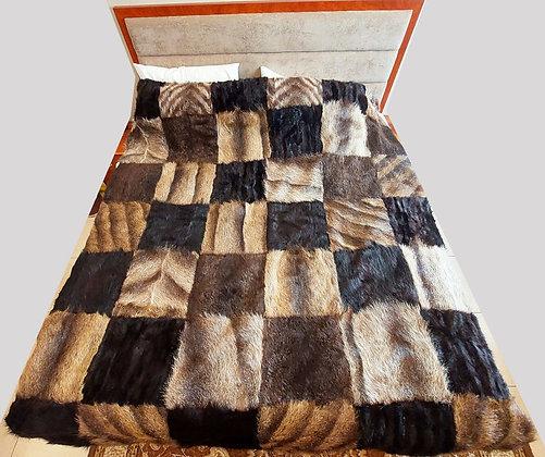 "ZP Premium Deerskin Leather Bedspread (Square Design - 69"" W x 87"" L)"