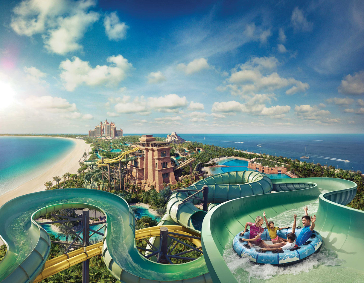 AQUAVENTURE WATERPARK Waterslides, zip line circuit & beach