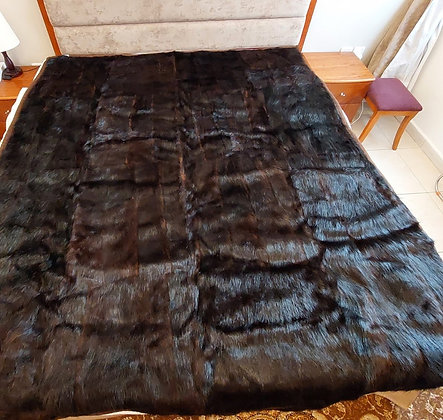 "ZP Premium Deerskin Leather Bedspread (Dark Brown - 69"" W x 87"" L)"