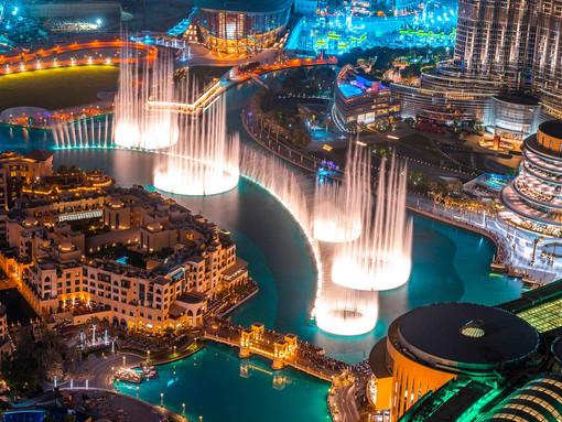 THE DUBAI FOUNTAIN Huge, choreographed fountain complex