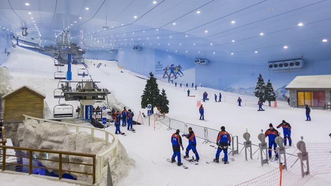 SKI DUBAI Mountain-themed attraction with snow