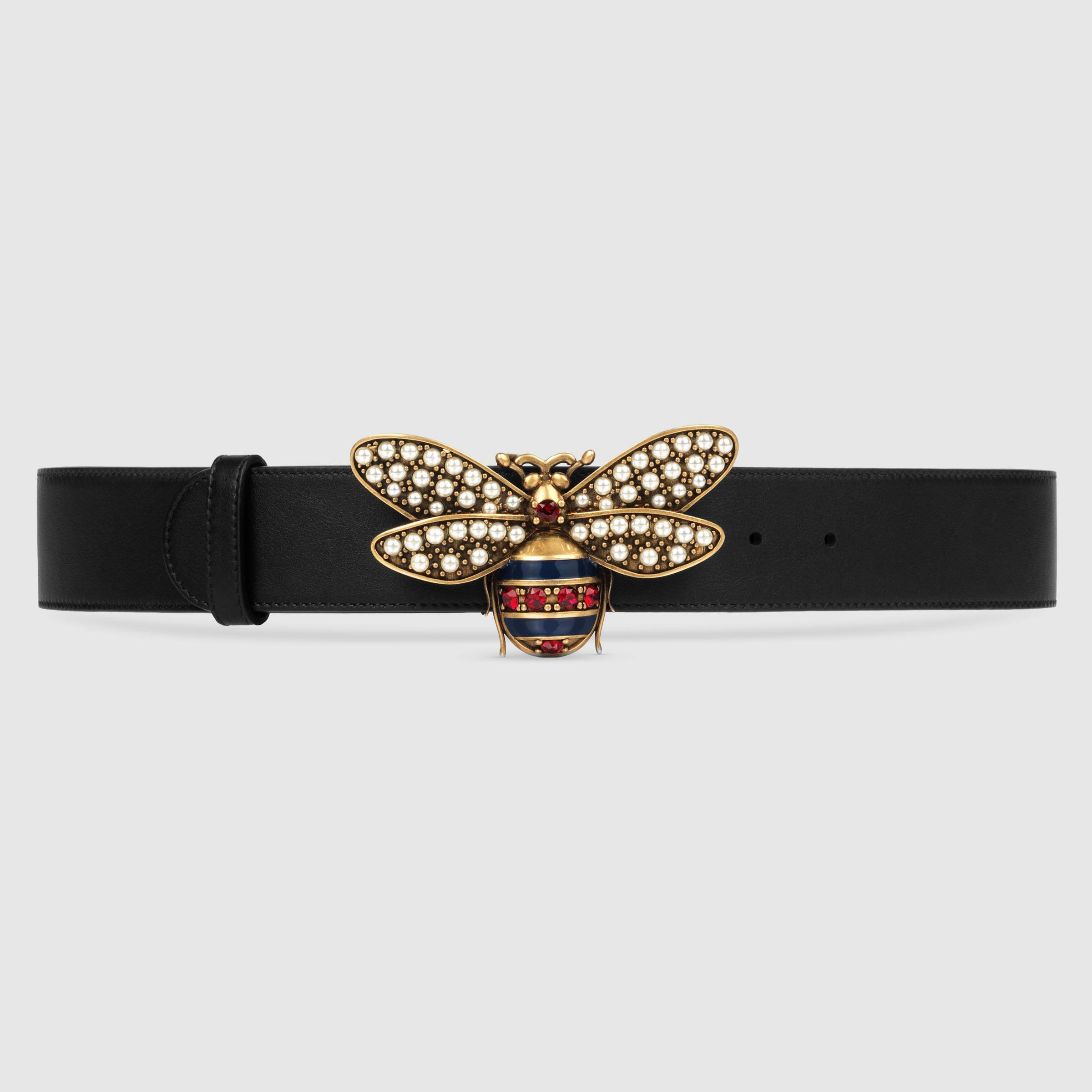 b065cc15b GUCCI Queen Margaret Bee Belt Collection In Black Leather | So In Miami