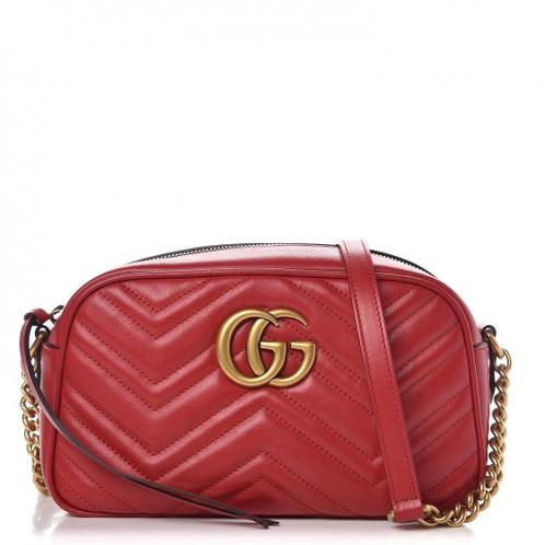 c3f97e33b669 GUCCI Calfskin Matelasse Small GG Marmont Bag Hibiscus Red