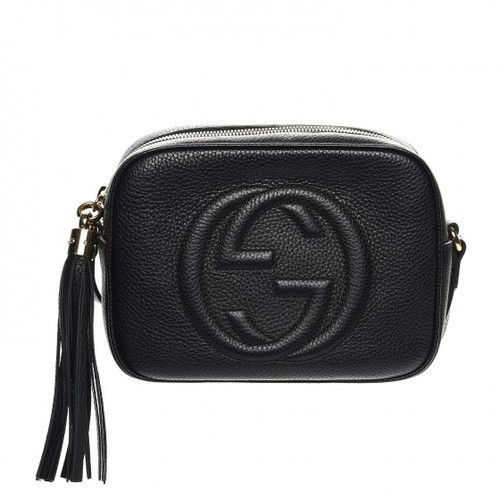 d4ab34fc389a GUCCI Soho Disco Black Textured-Leather Shoulder Bag With Tassel