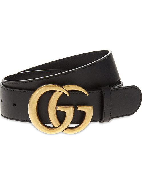 45adbcc05473b GUCCI Calfskin Double G Belt In Black Leather And Gold Buckle