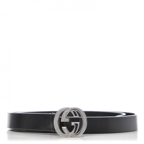 b9adee11ed6 This chic belt is crafted of calfskin leather in black and features an aged  silver interlocking GG buckle. This is a stylish belt