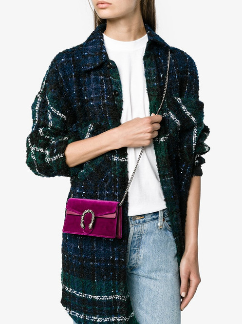 f1b654264453 A structured velvet chain super mini bag with a key ring that can be used  to attach this bag to a separate larger bag. The closure has the textured  tiger ...