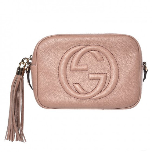 ef4baa941a6aa4 GUCCI Pale Pink Soho Small Leather Disco Bag With Tassel