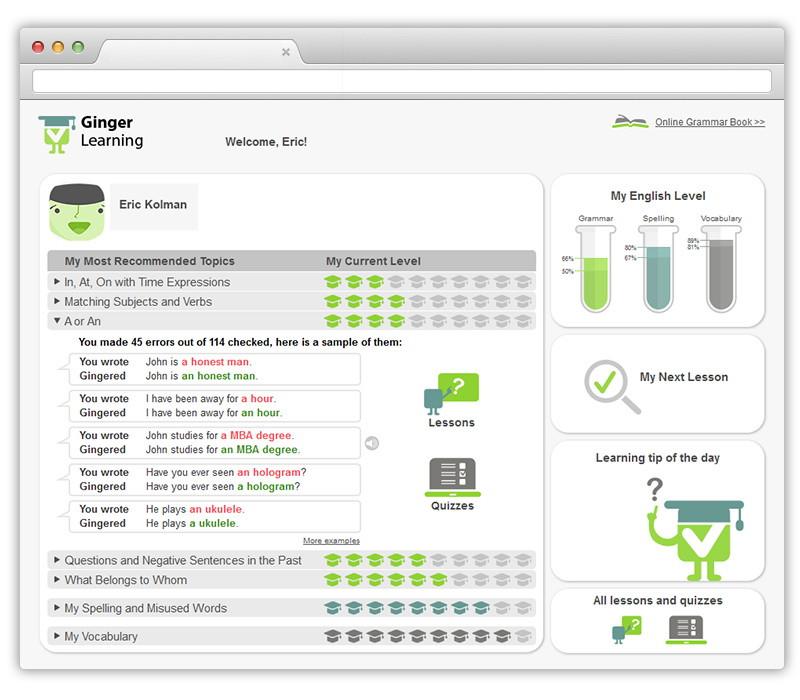 Ginger Software UI dashboard