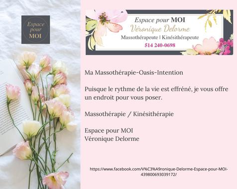 Massothérapie/ Kinésithérapie chez espace pour MOI Véronique Delorme