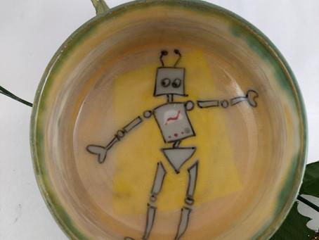 Dancing Robot Bowl-Robot Bowl-Green Bowl-Gift Idea-Handmade Pottery