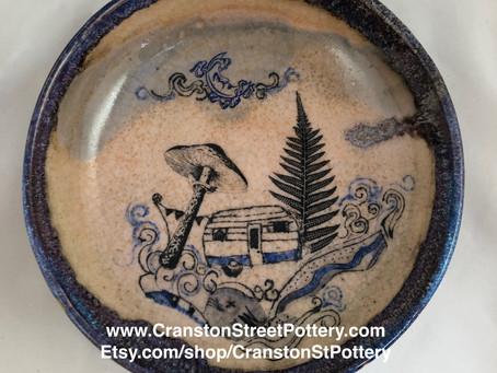 Ceramic Bowl, Retro Camper Bowl, Vintage Camper, Retro Trailer Art, Vintage Mushroom, Cottagecore