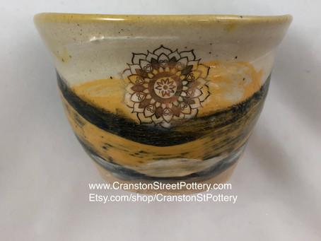 Yellow Ceramic Succulent Pot with Drainage Hole-Gold Mandala Design-Indoor Planter