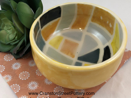 Yellow and Gray Bowl-Geometric Shapes Bowl-60's Inspired Bowl-Handmade Bowl-Bowl-Cool Retro Pottery