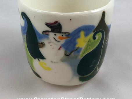 Snowmen and Aliens Tumbler-Handmade Pottery-Snowman-Alien-Area 51-Coffee-Tea-Collectible-Gift Idea