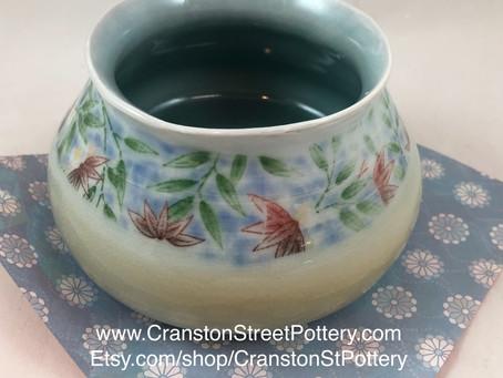 Pink Flower Vase-Pink, Green and Blue Flower Vase-Wide Opening Vase-Flower Vase-Vase-Hand Made