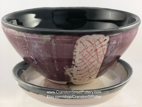 Indoor Planter-Succulent Planter-Purple Planter-Planter and Water Catcher-Planter with Drainage Hole