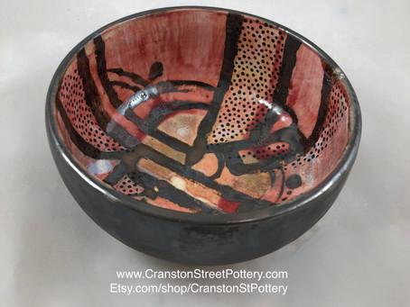 Red Abstract Bowl-Pink Abstract Bowl-Polka Dot Bowl-Pottery Bowl-Yayoi Kusama Inspired Bowl-Bowl