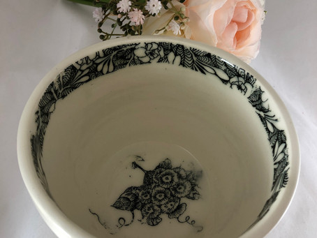 Black and White Minimalist Bowl/White and Black Bowl/Graphic Floral Bowl
