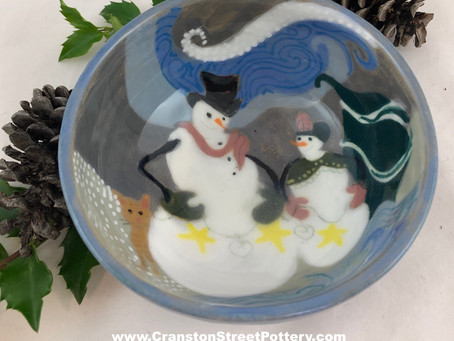 Snowman and Friend Bowl-Holiday Gift-Handmade Pottery-Ceramic Bowl-Snowmen-Winter Weather