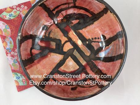 Red Abstract Bowl-Pink Abstract Bowl-Polka Dot Bowl-Hand Made Bowl-Pottery Bowl-Yayoi Kusama Inspire