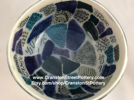 Ceramic Bowl, Gray and Blue Shapes, Zentangle Doodles, 60's Inspired Geometric Shapes