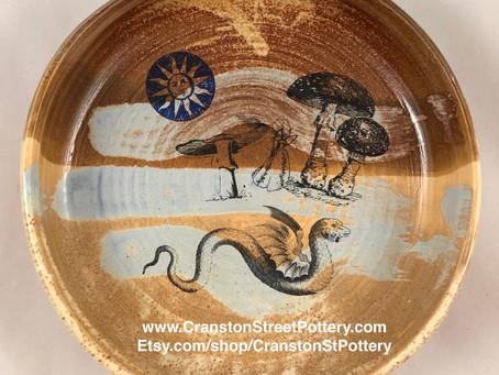 Ceramic Bowl, Cottage Core, Fairie, Faire, Fairy, Mushroom, Mythical Creature
