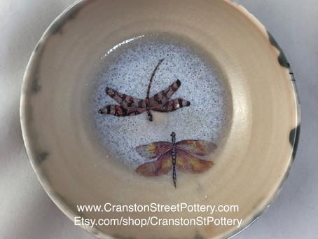 Ceramic Bowl-Pink Dragonfly Bowl-Pink Dragonflies-Gray and Pink Bowl-Dragonflies Bowl-Home Decor