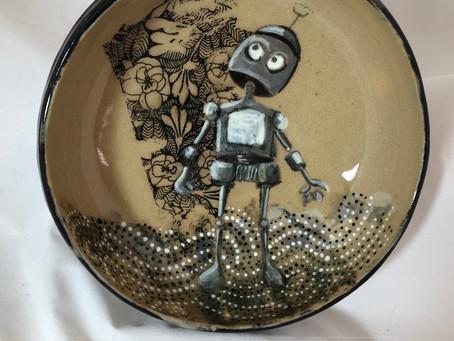 Robot in the Garden Bowl/Ceramic Robot Bowl/Robot BFF Bowl