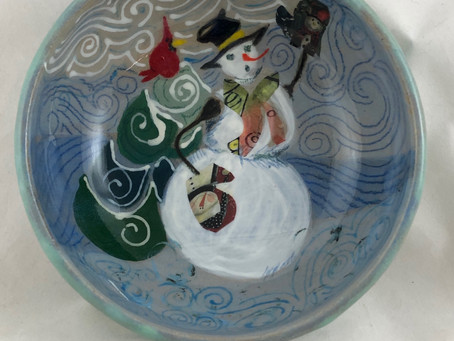 Snowperson With Odd Mittens Bowl-Handmade Ceramics-Gift Idea-Mittens-Snowman Bowl-Green Bowl-Bowls