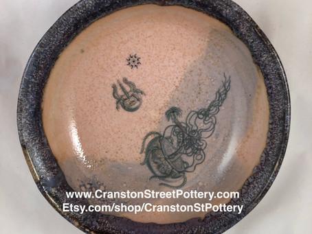 Ceramic Bowl, Octopus Bowl, Pink and Purple Bowl, Octopoda Bowl, Octopus Faerie Bowl