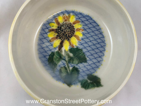 Sunflower Bowl-Yellow and Blue Bowl-Hand Painted-Hand Made Bowl-Summer Flower-Yellow Flower Bowl