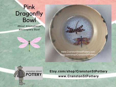 Ceramic Bowl-Pink Dragonfly Bowl-Pink Dragonflies-Gray and Pink Bowl--Home Decor-Anisoptera Bowl