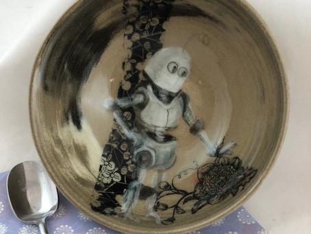 Robot Enjoying Flowers Bowl/Robot Cereal Bowl/Graphic Robot Bowl