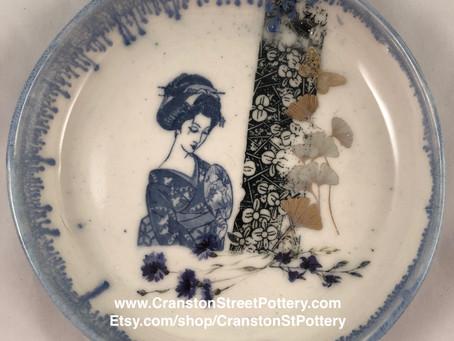 Ceramic Bowl, Geisha Art, Ginkgo Leaves, Cherry Blossoms, Blue Bowl, Asian Inspired Pottery