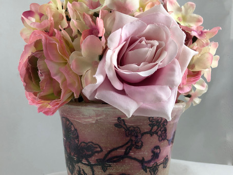 Pretty Pink Vase With Black Flowers